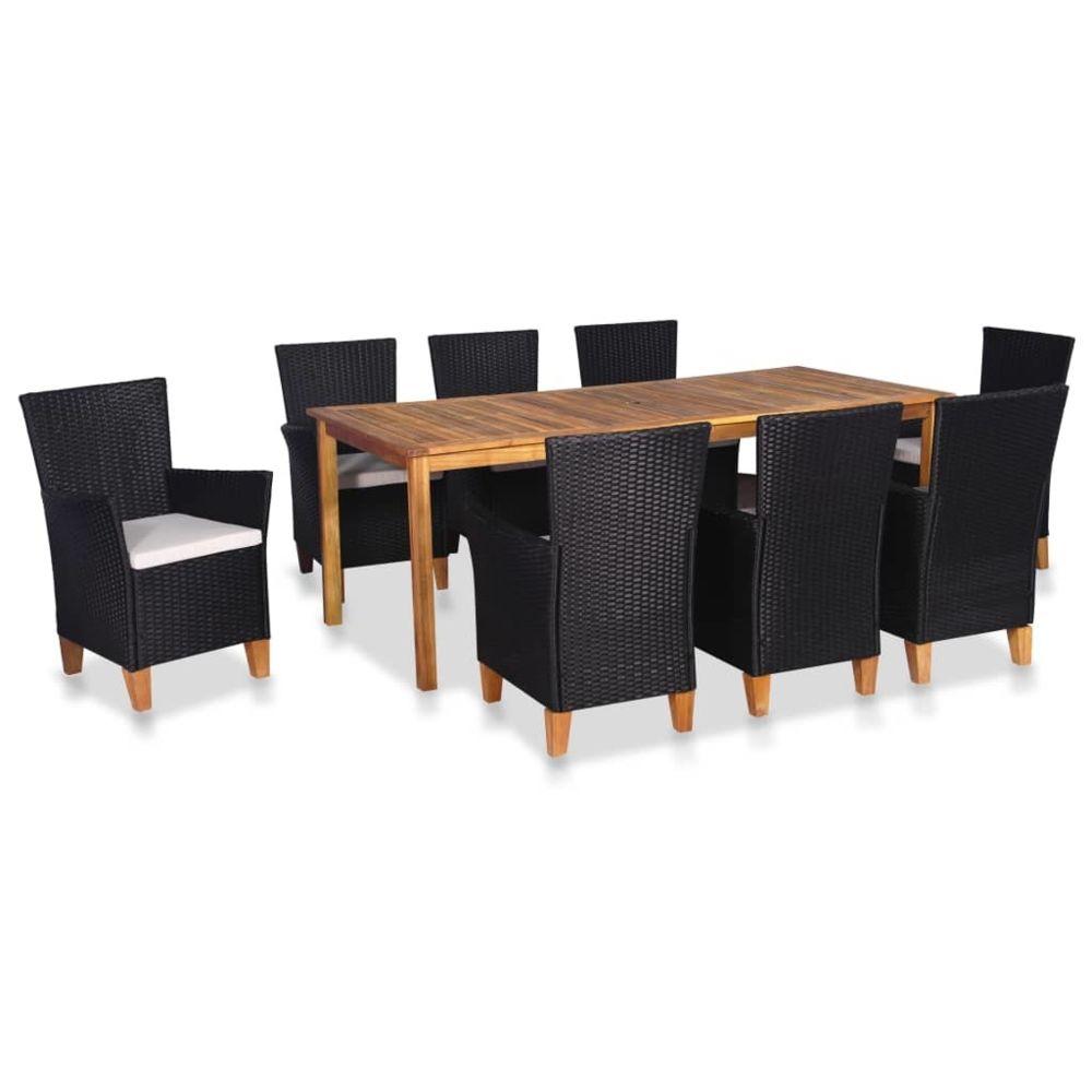 Vidaxl vidaXL Mobilier à dîner de jardin 9 pcs Résine tressée Noir et marron