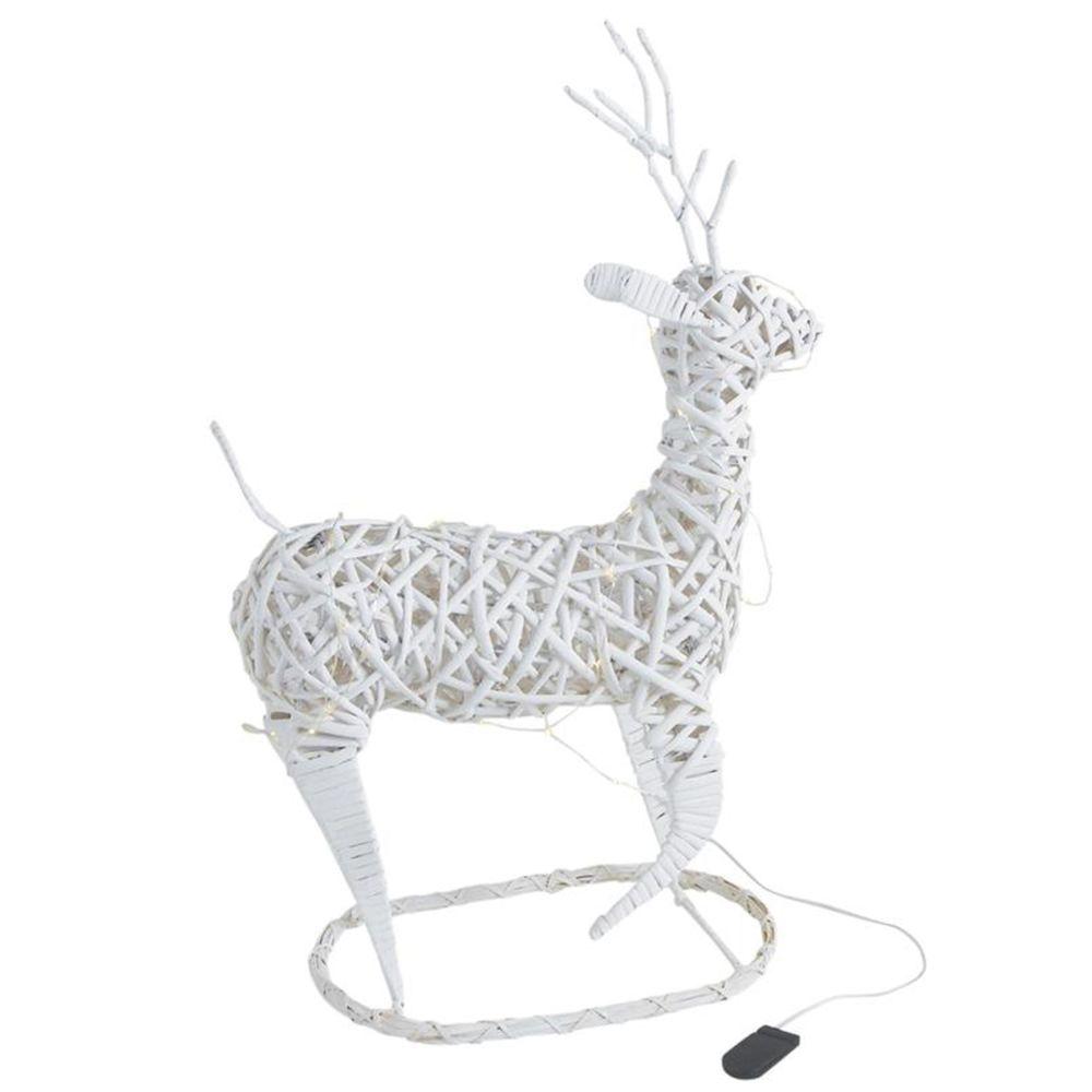 Pegane Cerf en osier teinté blanc avec LEDs - Dim : 34 x 17 x 41-53 cm -PEGANE-