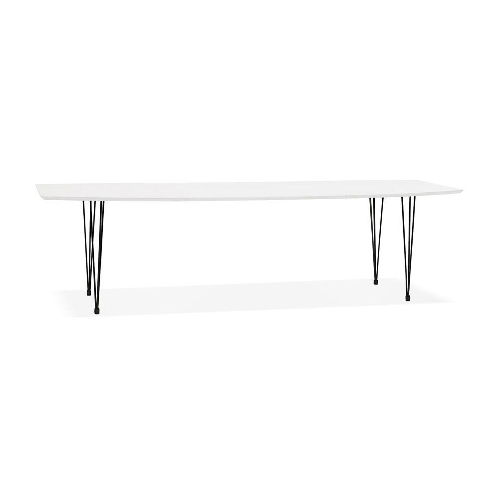 Alterego Table à dîner design extensible 'HUSKI' blanche avec pieds noirs style industriel - 170(270)x100 cm