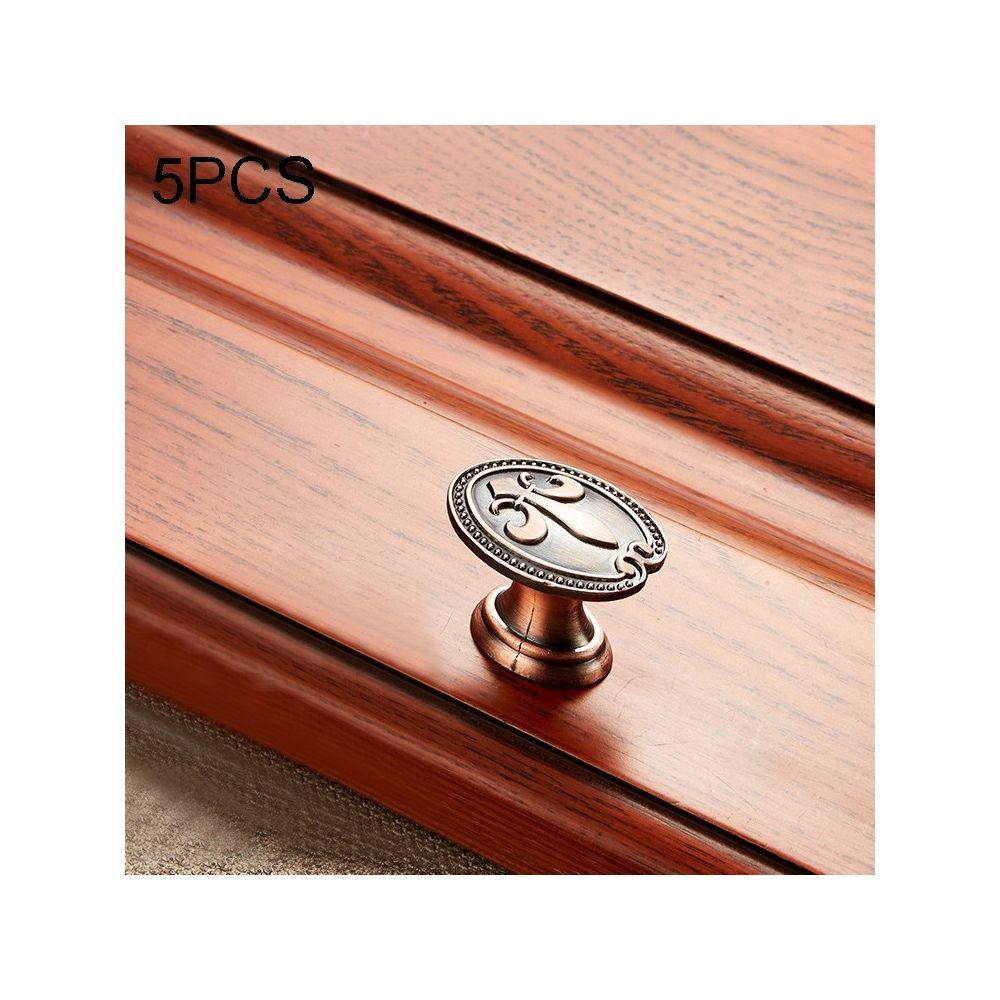 Wewoo Poignée d'armoire 5 PCS 6034 de meuble en bois massif Poignées bronze rouge