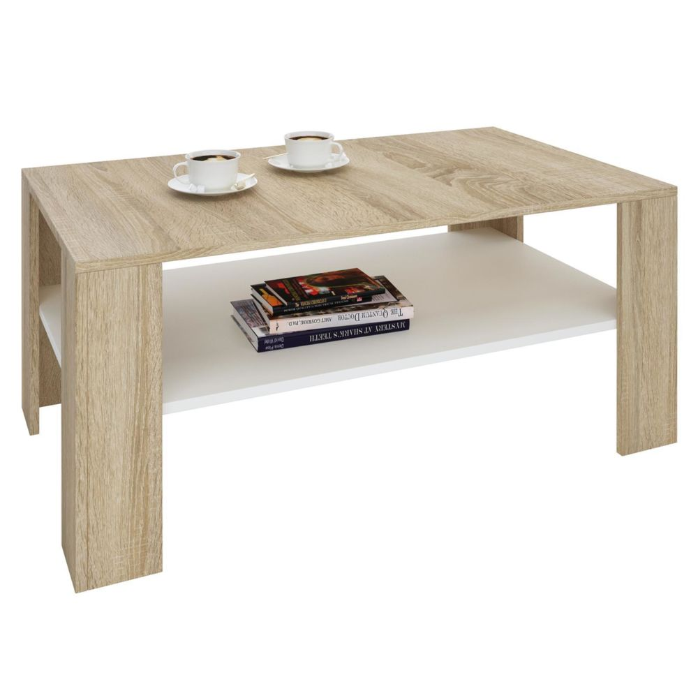 Idimex Table basse LORIENT, table de salon rectangulaire avec 1 étagère espace de rangement ouvert, en mélaminé décor chêne son