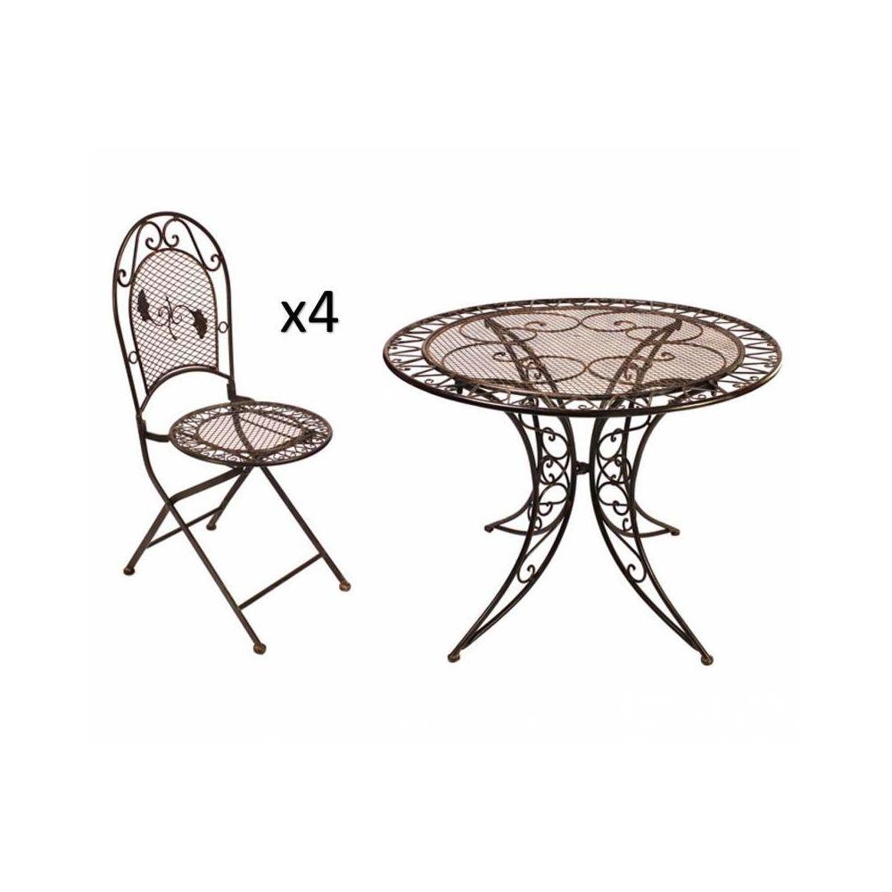 L'Héritier Du Temps Grand Salon de Jardin 4 Places 1 Table Ronde Ø100cm 4 Chaises Pliables en Fer Patiné Marron