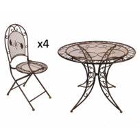Salon jardin table ronde - Achat Salon jardin table ronde ...