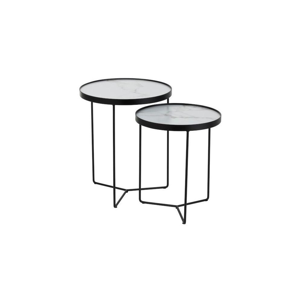 J-Line Set De 2 Tables Gigognes Rondes Mdf/Fer Noir/Blanc Marbré