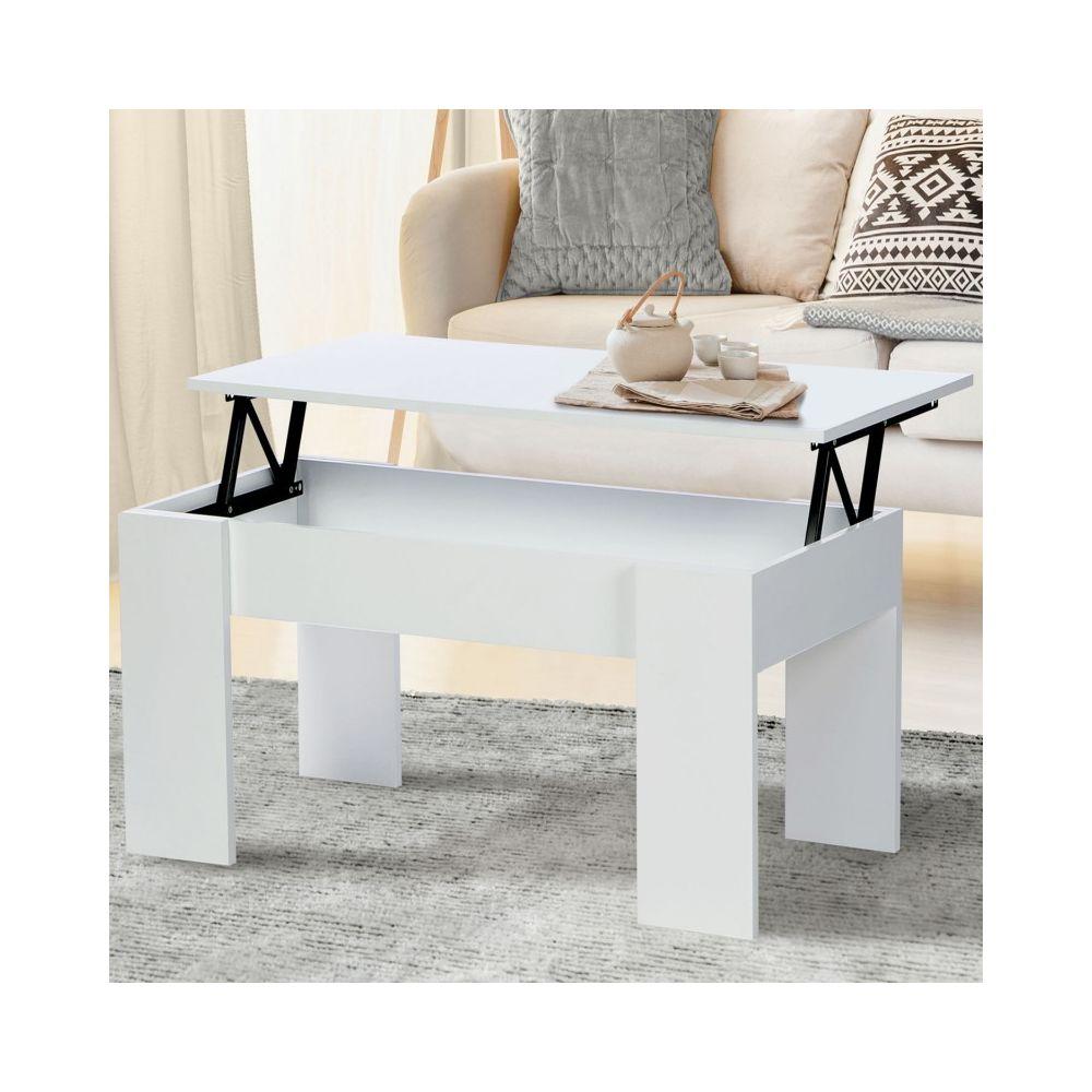 Idmarket Table basse avec plateau relevable bois blanc