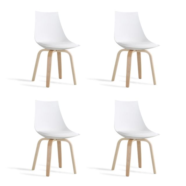 Oneboutic - Lot de 4 chaises scandinaves blanches - Nicosie - Chaises