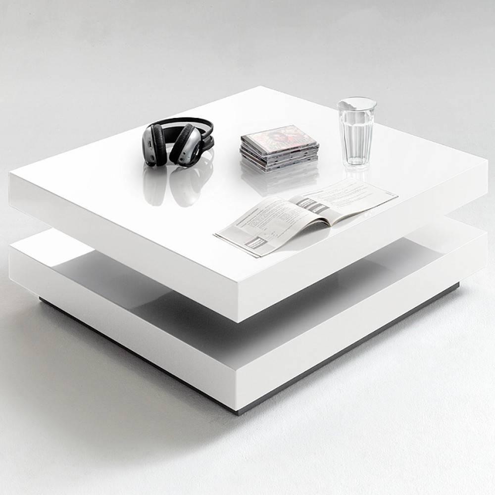 Inside 75 Table basse design HUBIC laquée blanc brillant plateau pivotant