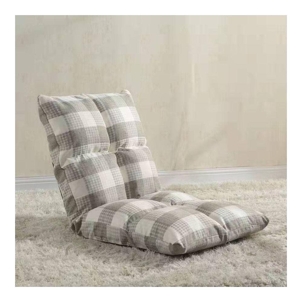 Wewoo - Fauteuil Canapé chaise Tatami coussins de sol lit pliant gris +  blanc