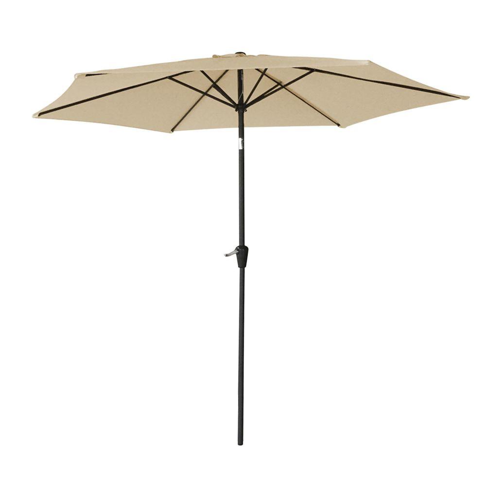 Happy Garden Parasol droit HAPUNA rond 2,70m de diamètre beige