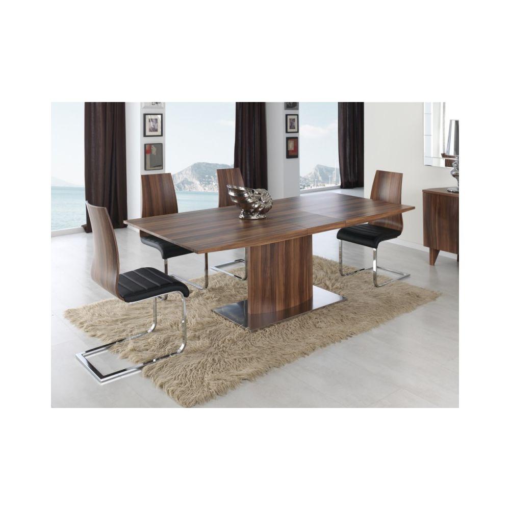 Ma Maison Mes Tendances Table à manger rectangulaire extensible 160-200cm en bois couleur noyer VELA - L 160 x l 90 x H 76