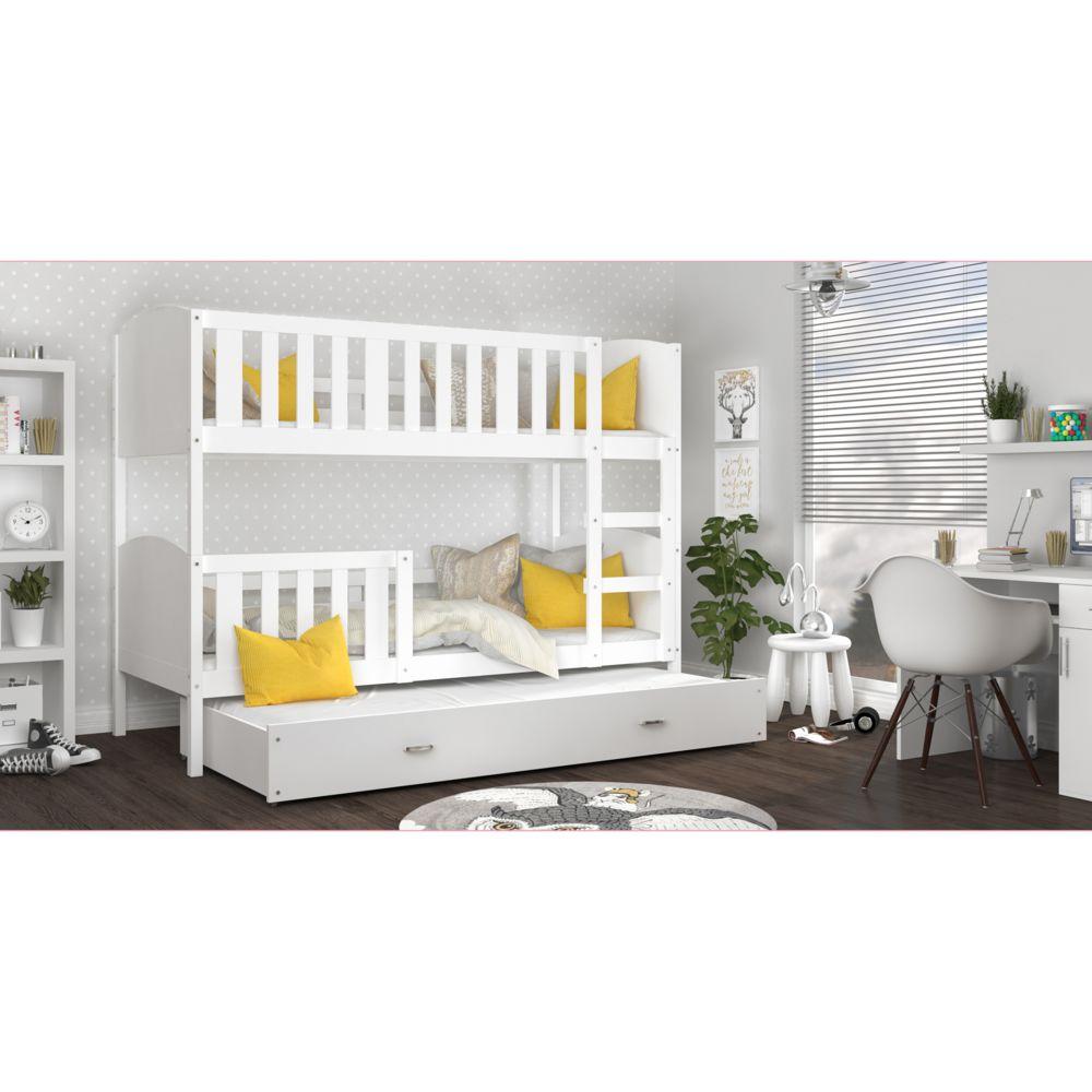 Kids Literie Lit superpose 3 places Tomy 90x190 blanc blanc livré avec tiroir,3 sommiers et 3 matelas en mousse de 7cm offerts