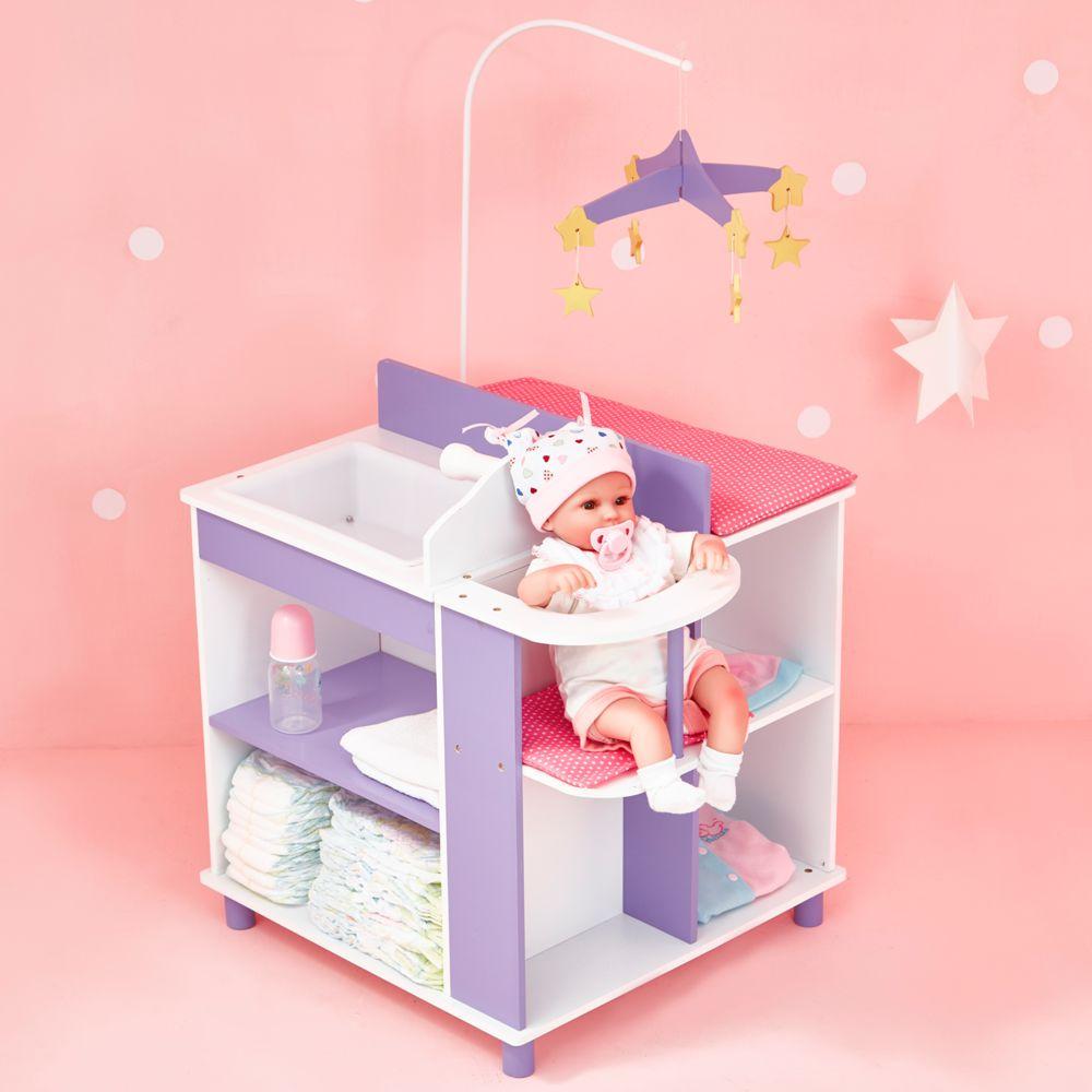 Olivia'S Little World Table à langer poupon poupée Little Princess rangement meuble bois jeux TD-0203A