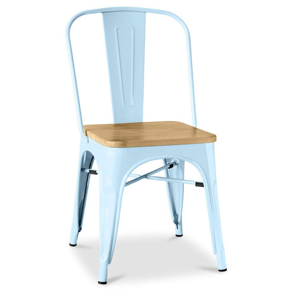 Privatefloor Chaise Tolix Carrée en bois Pauchard Style - Métal