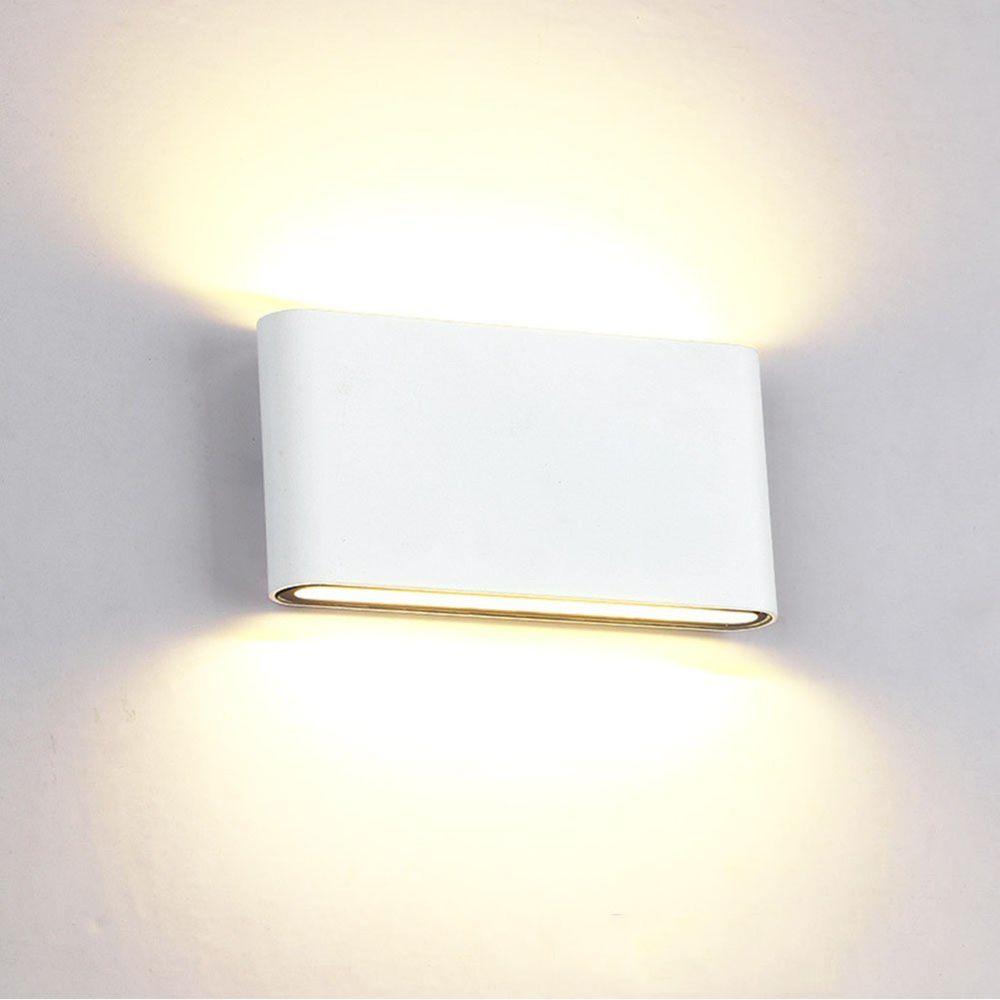 Stoex 12W Applique Murale Intérieur Extérieur Lampe Murale Aluminium Eclairage Up and Down Conception Moderne Blanc Chaud pour