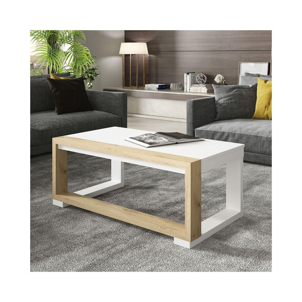 Tousmesmeubles Table basse relevable Bois blanc/Chêne blond - UPTU
