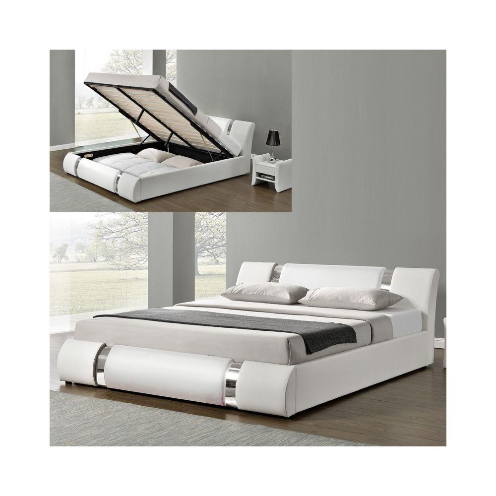 Meubler Design Lit Coffre Sommier Relevable Nova - Blanc - 180x200