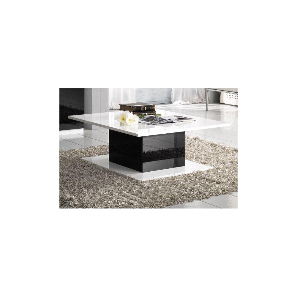Dansmamaison Table basse rectangulaire Blanc/Noir laqué - ZEME - L 110 x l 60 x H 43 cm