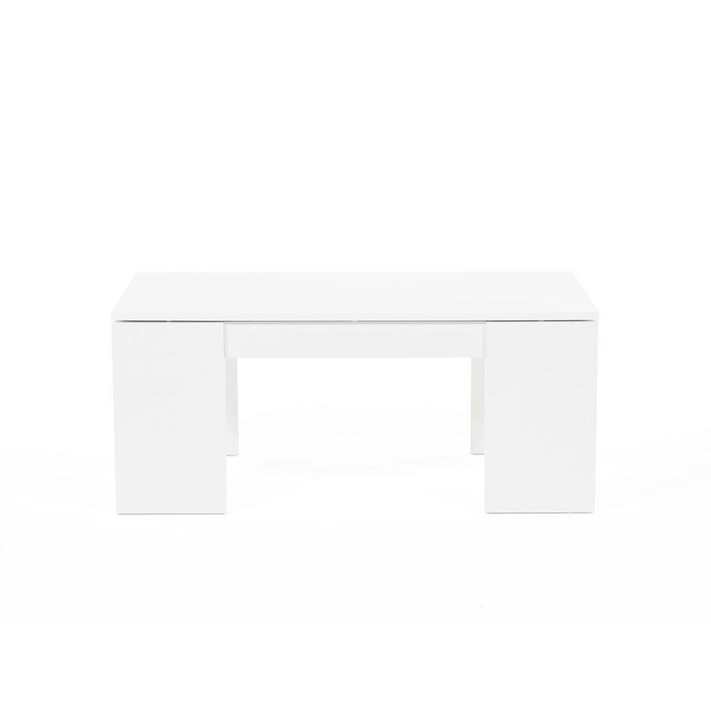 Weber Industries Table basse relevable bois blanc NEWTON