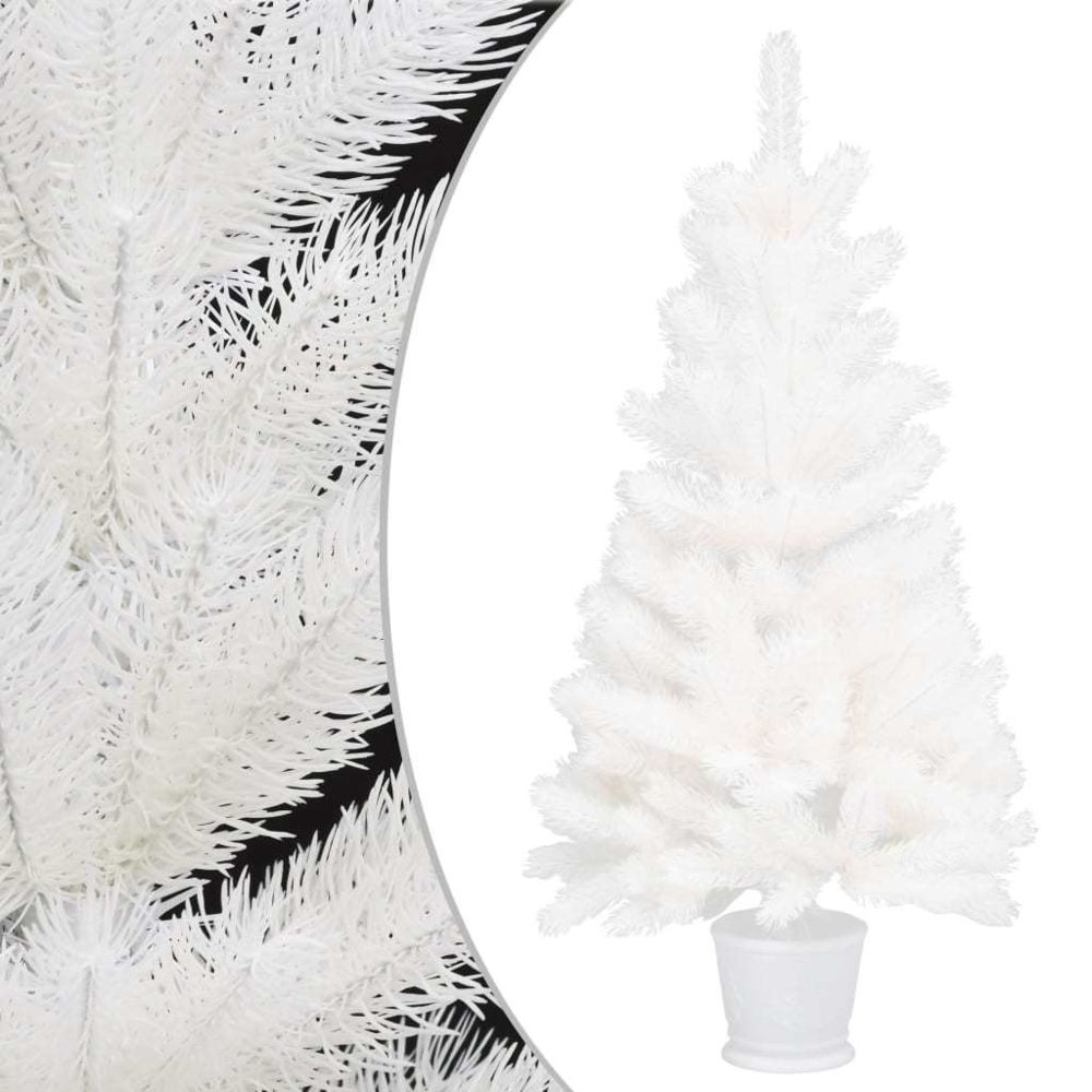 Vidaxl vidaXL Sapin de Noël artificiel avec un pot Blanc 65 cm PE