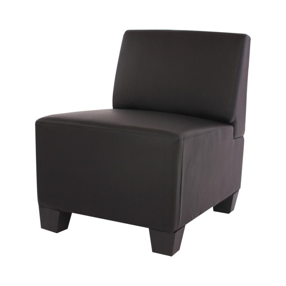 Mendler Canapé-élément Lyon, élément central, modulable, simili-cuir, noir