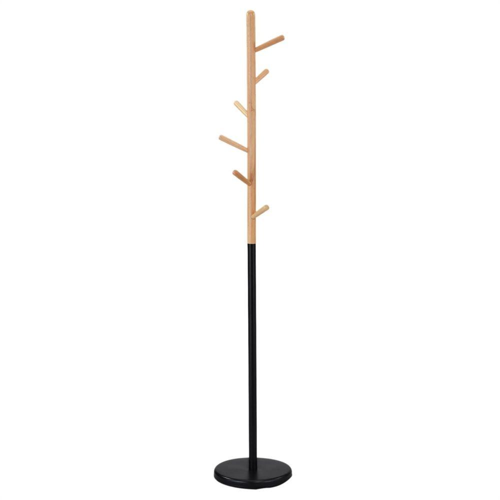 Idimex Porte-manteau ENRICO portant à vêtements sur pied en forme d'arbre avec 6 crochets, en métal laqué noir et bois