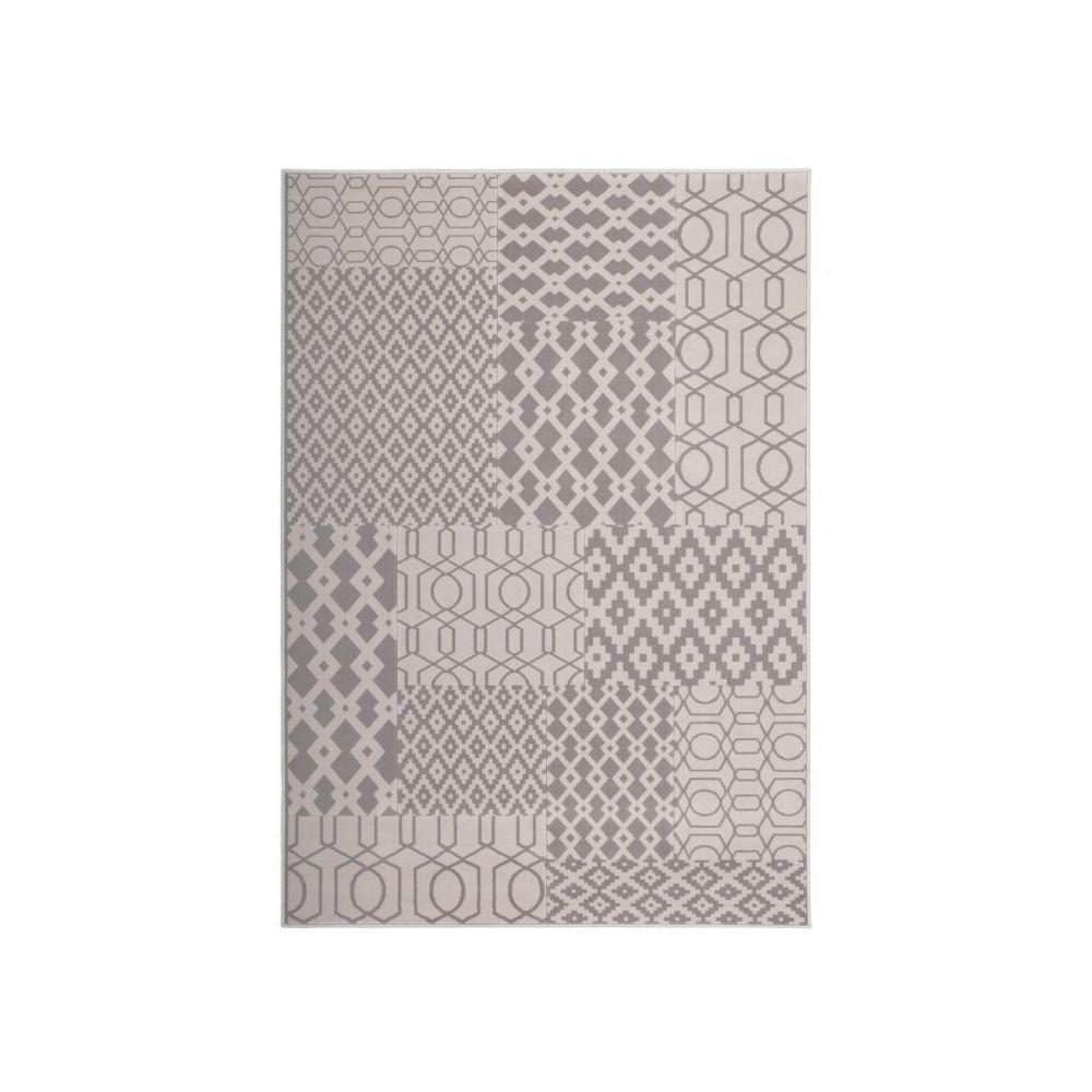 Paris Prix Tapis Tissé Géométrique à Poils Courts Lina Taupe - 80 x 150 cm