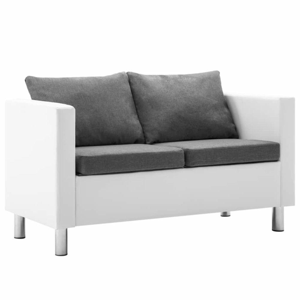 Vidaxl vidaXL Canapé à 2 places Faux cuir Blanc et gris clair