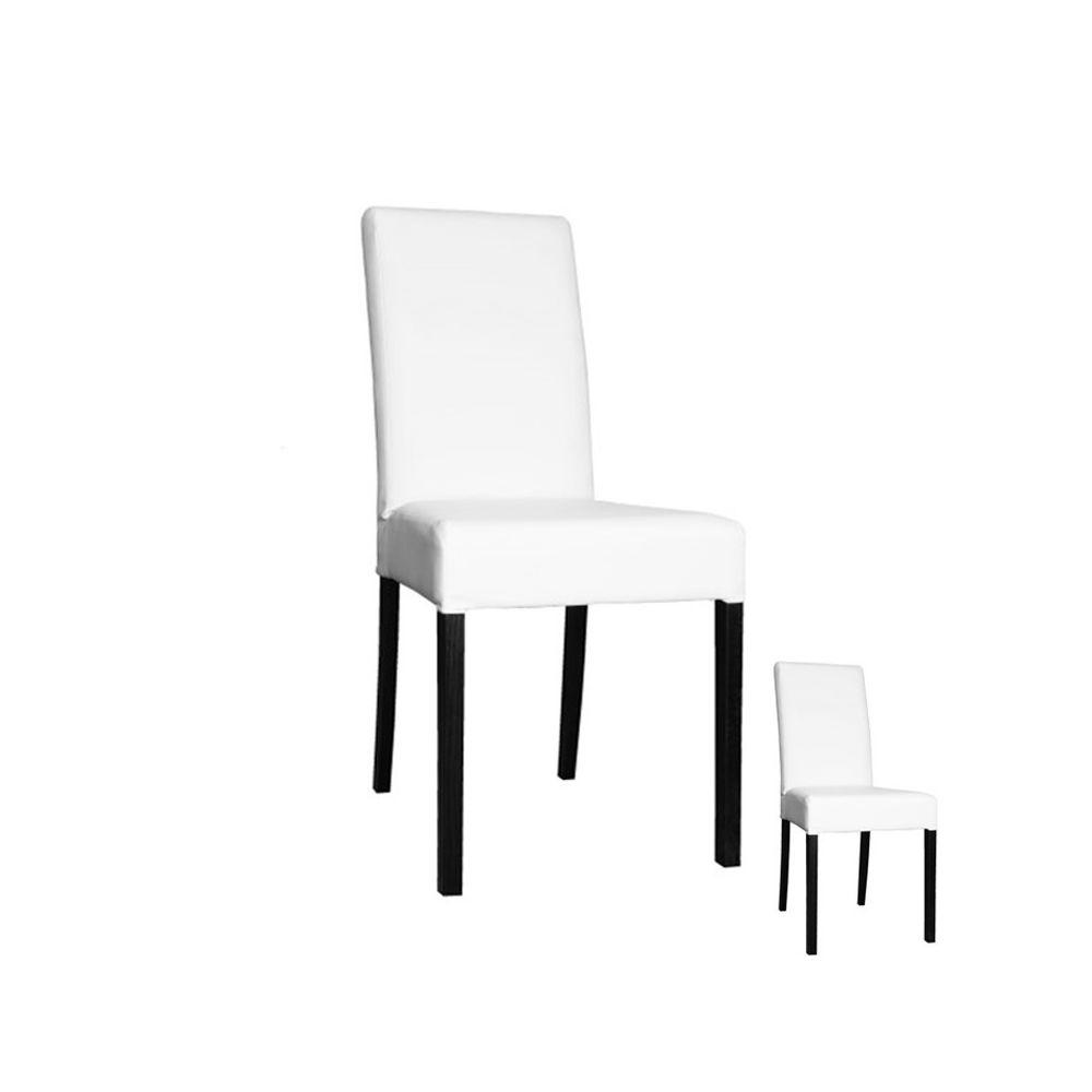 Tousmesmeubles Duo de chaises Simili Cuir Blanc - SONIA