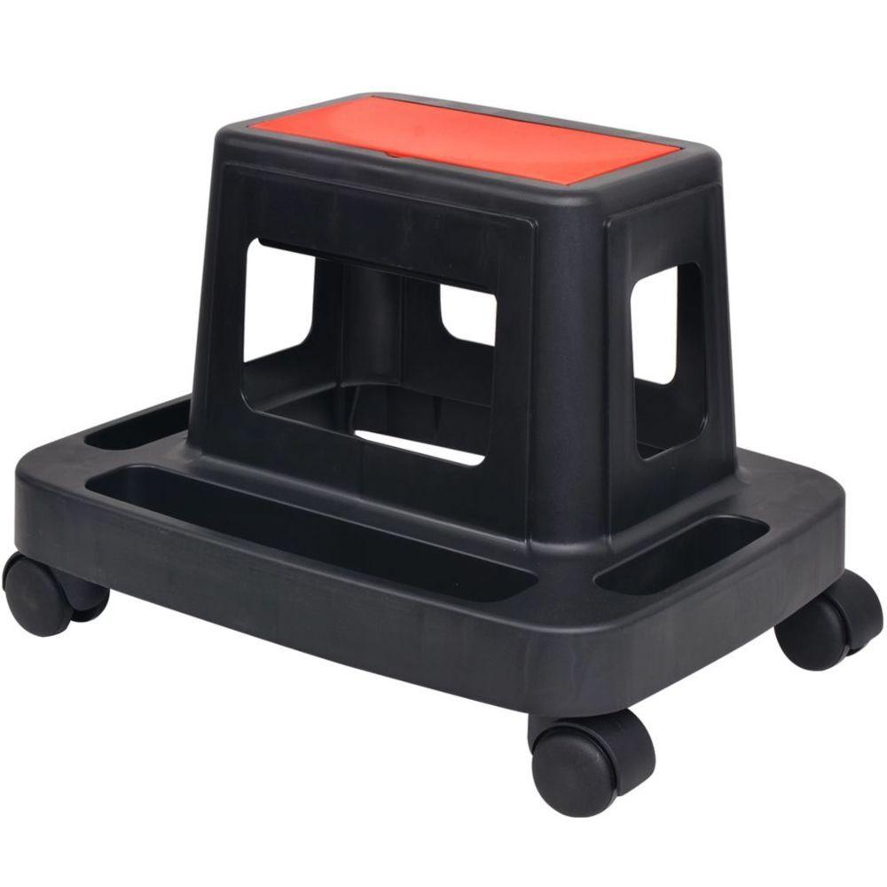 Vidaxl Tabouret d'atelier roulant avec rangement 150 kg   Noir - Accessoires de quincaillerie - Organisation et rangement d'out