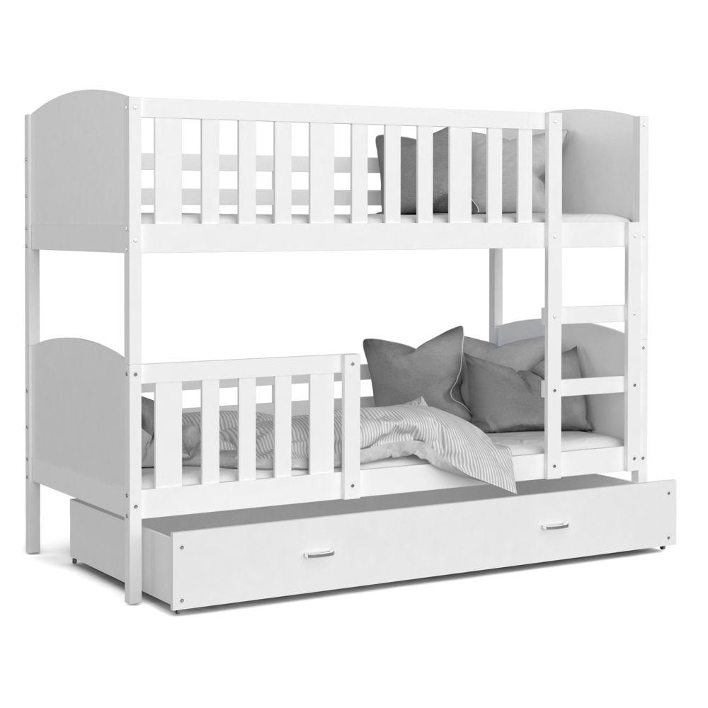 Kids Literie Lit superpose Tomy 90x190 blanc blanc livré avec tiroir,2 sommiers et 2 matelas en mousse de 7cm offerts