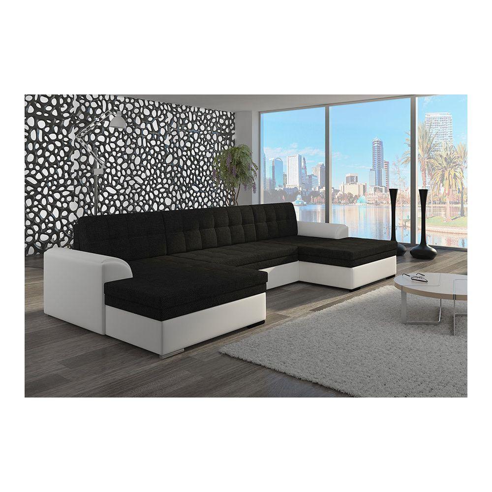 Kasalinea Canapé d'angle panoramique convertible blanc et noir ou blanc et gris YORK 4