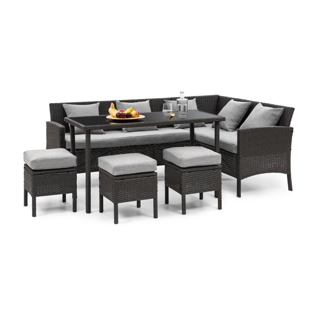 Blumfeldt Blumfeldt Titania Lounge Salon de jardin complet polyrotin noir & gris clair