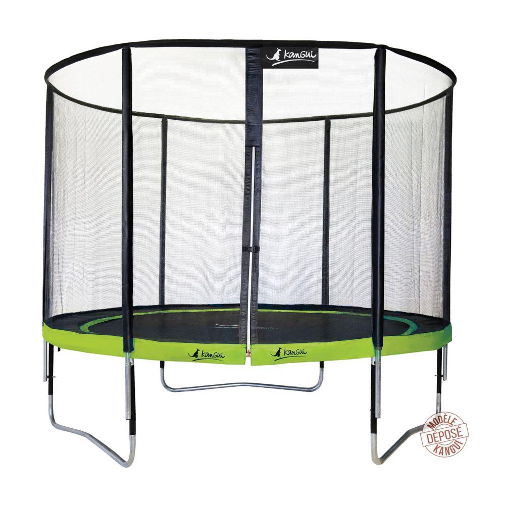 Kangui Kangui - Trampoline de jardin rond 305 cm + filet de sécurité PUNCHI Vert 300