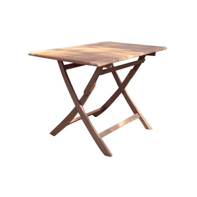 Proloisirs - Table rectangulaire pliante look teck - Tables de jardin