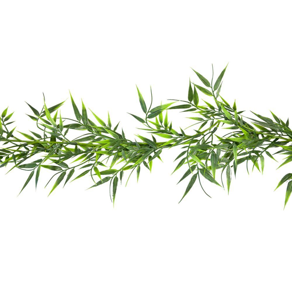 Visiodirect Lot de 12 Guirlandes de bambou 63 feuilles coloris vert - 1,8 cm