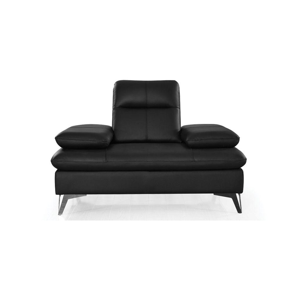 La Maison Du Canapé Fauteuil cuir Design avec dossier avance-recul IRIS - {habillage_canape_cuir} - Noir
