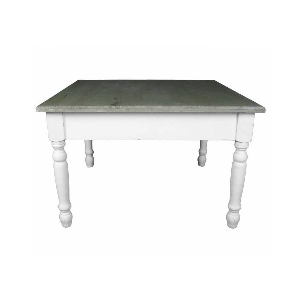 L'Héritier Du Temps Charmante Table Basse Console de Salon Bout de Canapé Desserte d'Appoint Forme Carrée en Bois Patiné Blanc et Marron 45x