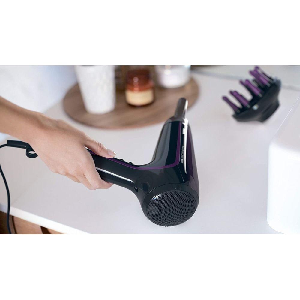 Philips sèche cheveux céramique avec fonction ionique 2200W violet noir
