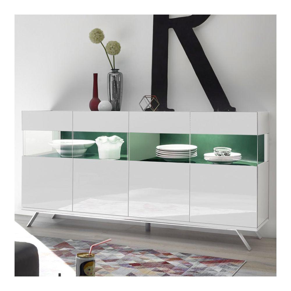 Sofamobili Buffet 4 portes LED design blanc et vert ROSINI