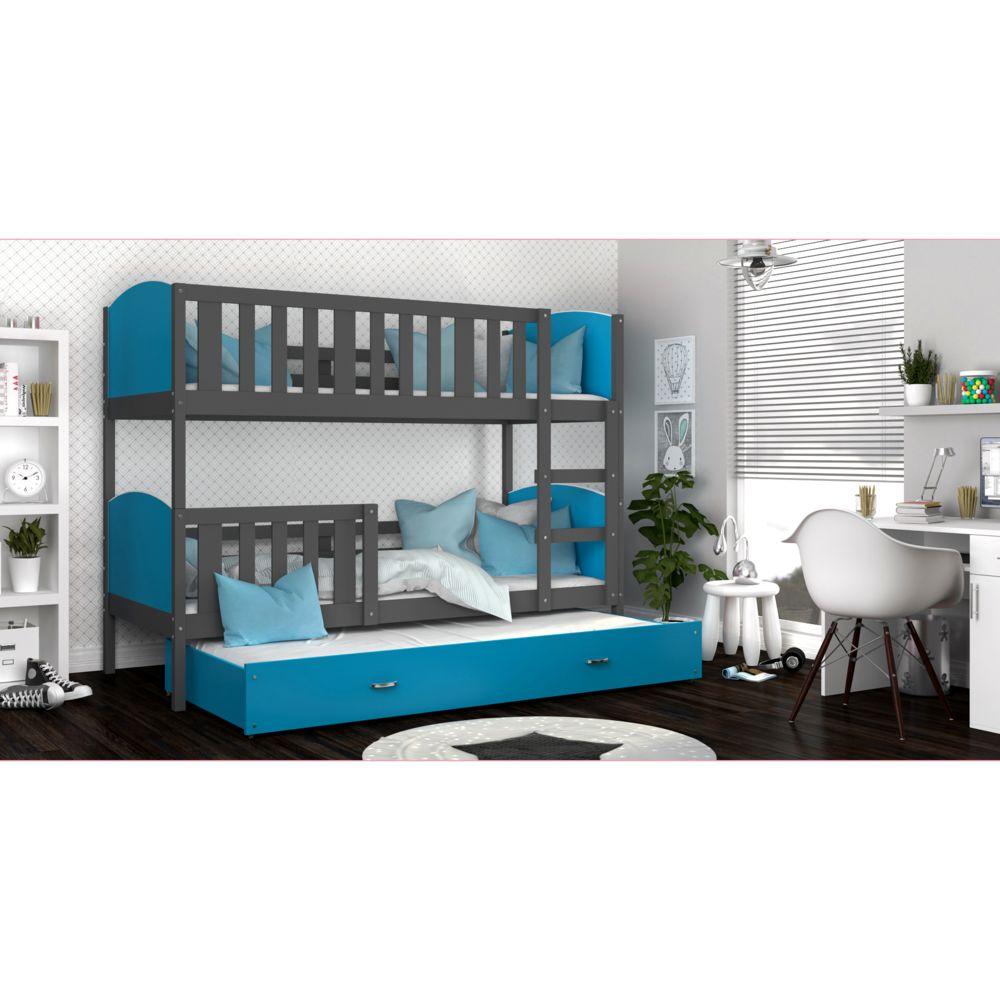 Kids Literie Lit superpose 3 places Tomy 90x190 gris bleu livré avec tiroir,3 sommiers et 3 matelas en mousse de 7cm offerts