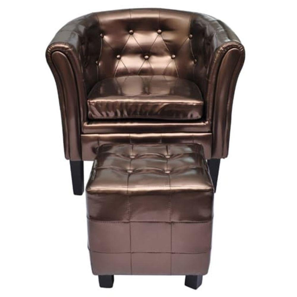 Helloshop26 Fauteuil chaise siège lounge design club sofa salon cabriolet avec repose-pied cuir synthétique marron 1102301