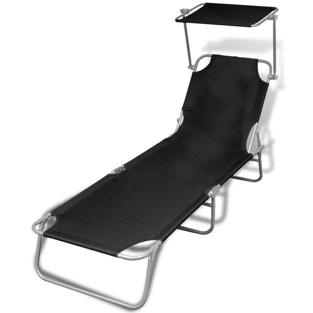 Vidaxl Chaise longue pliable avec auvent Noir 189 x 58 x 27 cm | Noir