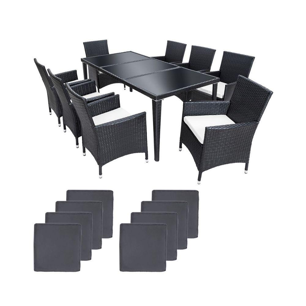 Helloshop26 Salon de jardin 8 chaises rotin résine tressé synthétique noir + coussins + housses 2108005