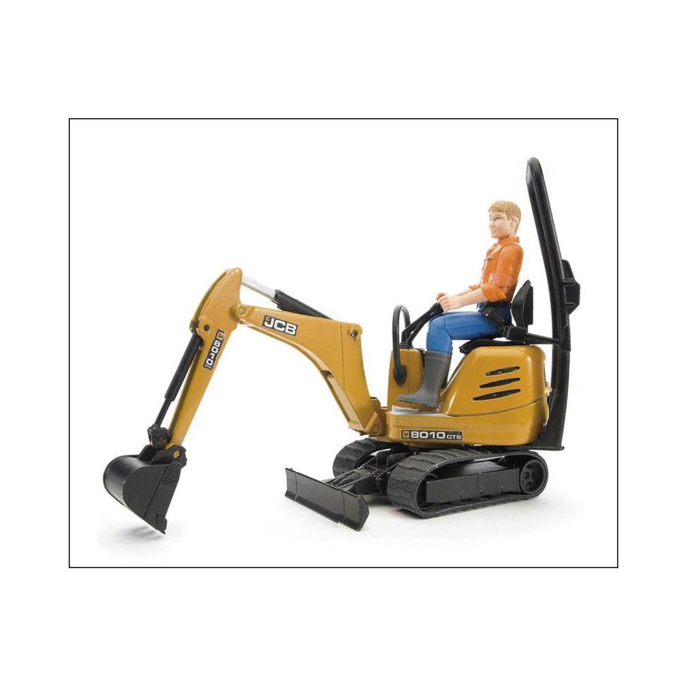 Bruder Bruder 62002 JCB - Micro Pelle 8010 CTS et ouvrier de la construction