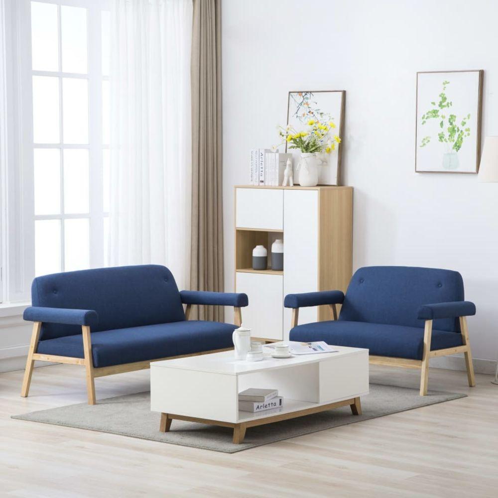 Vidaxl Jeu de canapé pour 5 personnes 2 pcs Tissu Bleu - Meubles - Canapés   Bleu   Bleu