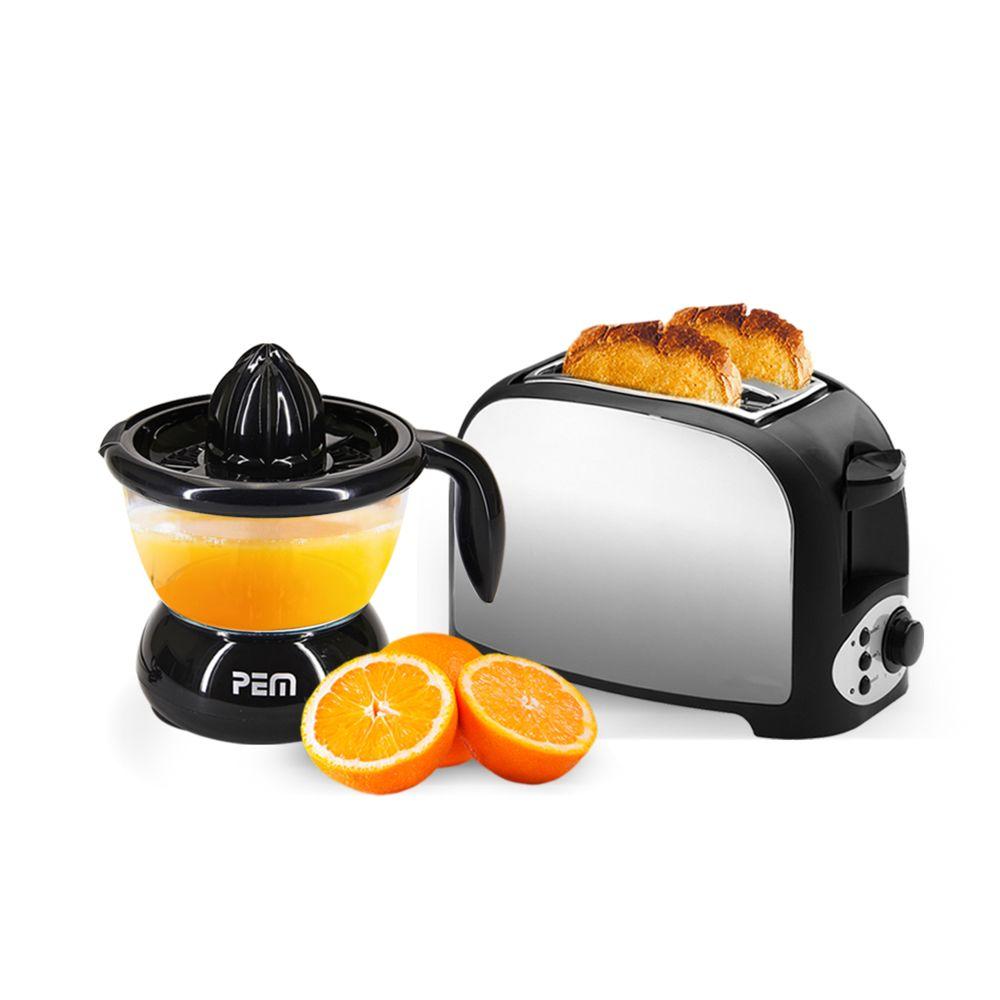 Pem Set petit déjeuner - Grille pain 2 fentes finition inox + Presse agrumes noir 0.7L