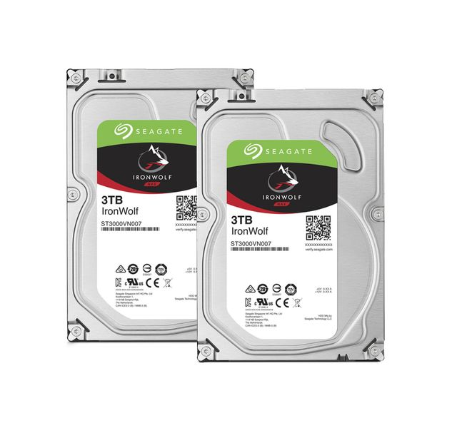 Seagate - Lot de 2 Ironwolf 3 To - 3.5'' SATA III 6 Go/s - Cache 64 Mo - Disque Dur interne