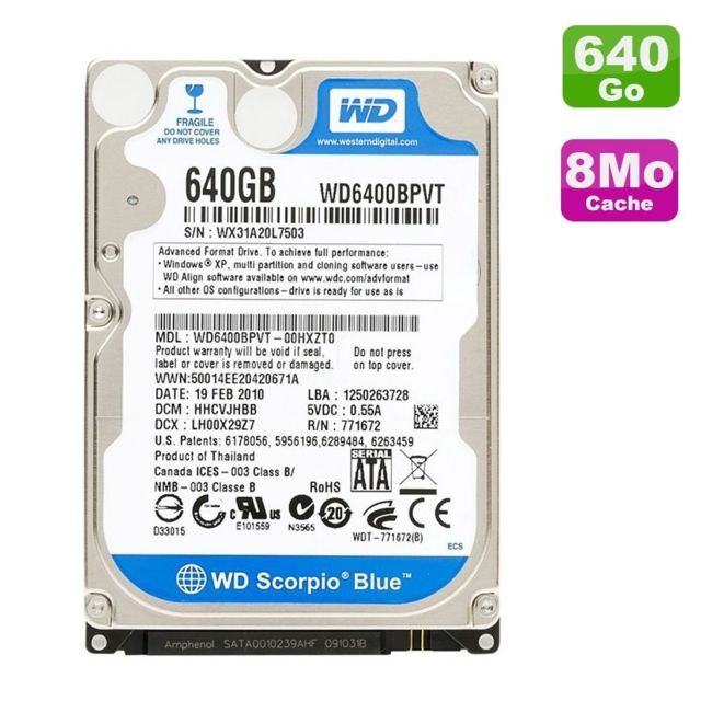 "Western Digital - Disque Dur 640Go SATA 2.5"""" Western Digital Scorpio Blue WD6400BPVT Pc Portable - Disque Dur interne 2.5"""