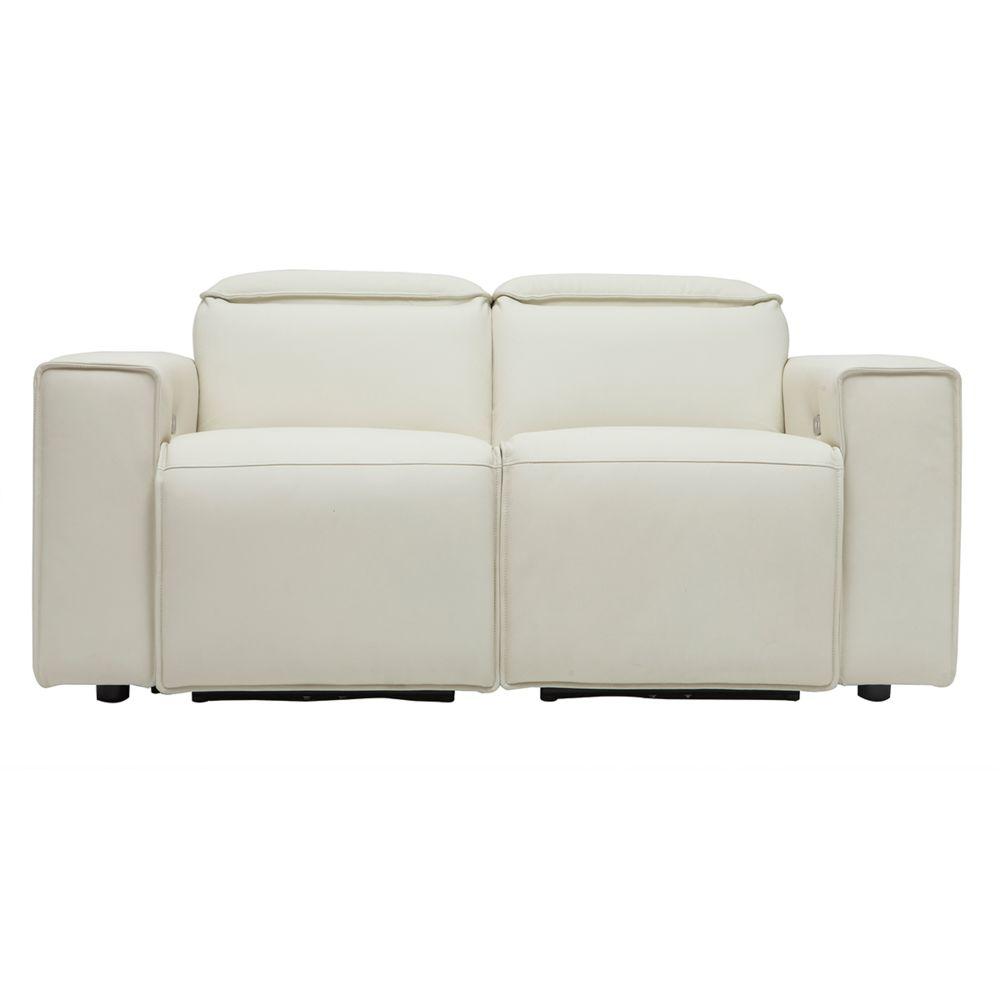 Miliboo Canapé relax électrique en cuir blanc avec têtières ajustables RUIZ - cuir de vache