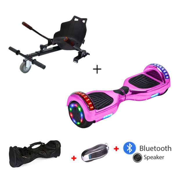 Mac Wheel - 6,5 pouces placage rose Gyropod Overboard Hoverboard Smart Scooter + Bluetooth + clé à distance + sac + Roue LED + hoverkart - Gyropode, Hoverboard